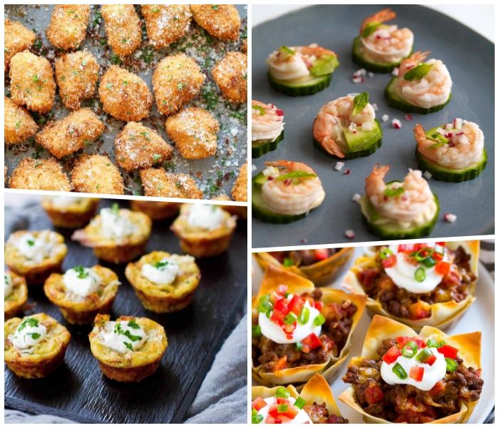essen für geburtstag, salzige cupcakes aus eiern, häppchen mit gurken und garnelen
