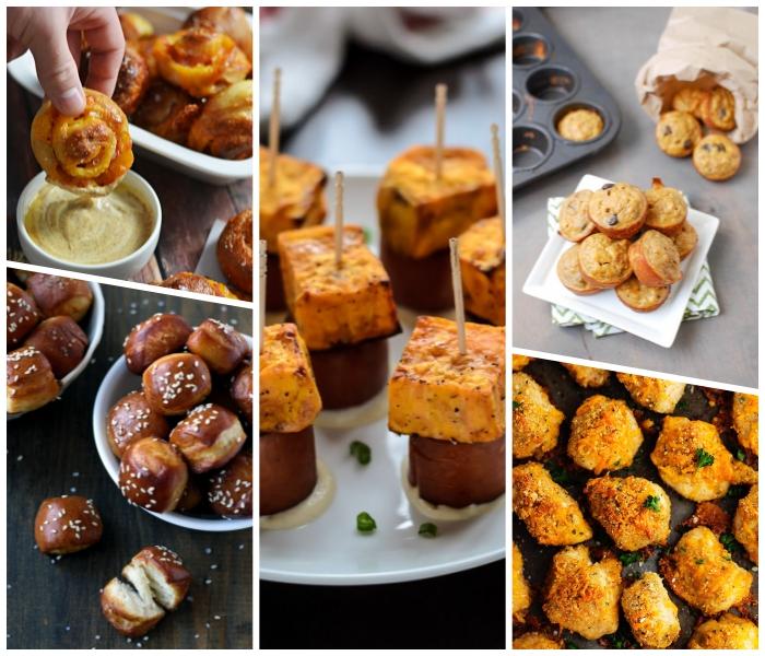 essen für geburtstag ideen, spießen mit fleisch, salzige cupcakes, mini brötchen, rollen