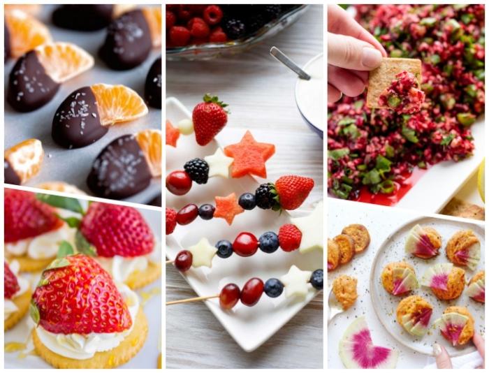 essen für geburtstag, mandarinen mit schokoalde, spießen mit früchten, erdbeeren