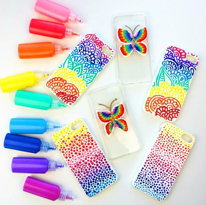 Handyhülle gestalten, drei verschiedene Designs mit knalligen Farben erreicht, Schmetterlinge, Frühlingsgarten und Regenbogen