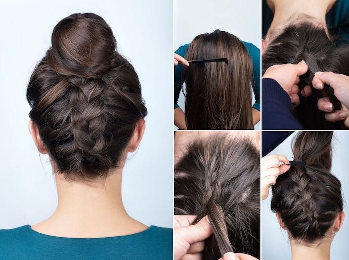 Anleitung für Dutt mit Zopf am Nacken, Anleitung in vier Schritten, schöne Hochsteckfrisur für lange Haare