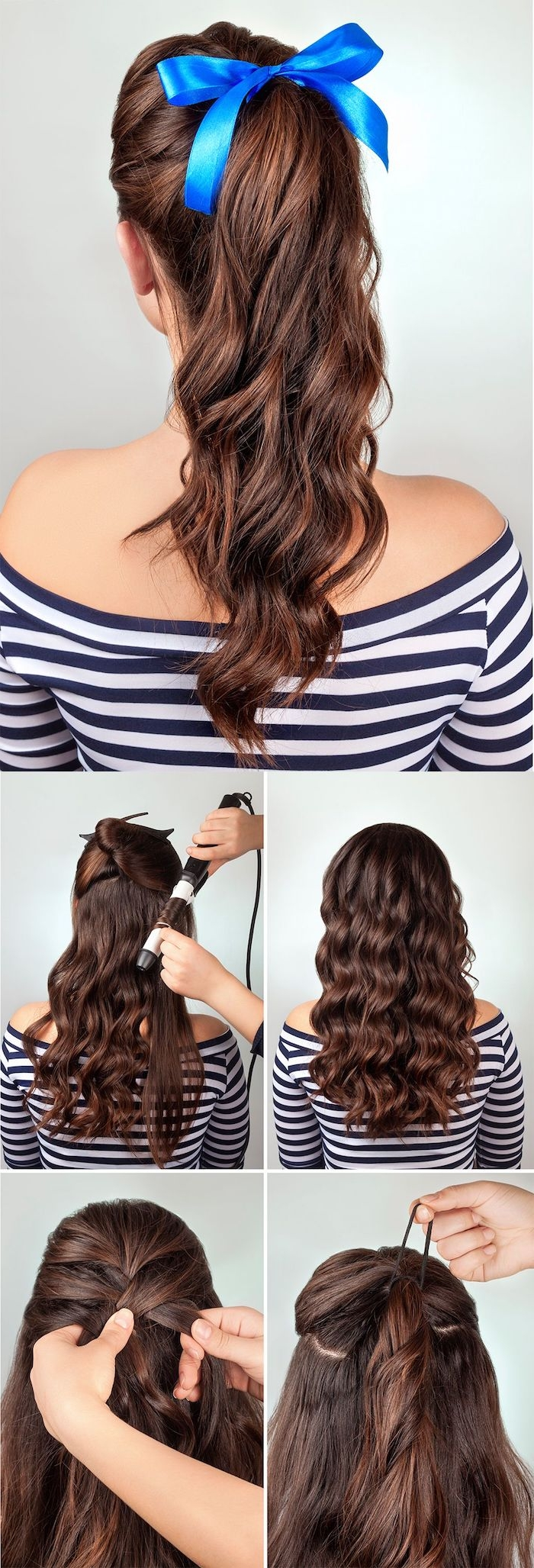 Haare zum Ponytail binden, Locken mit Lockenstab zaubern, blaue Schleife binden, lange braune Haare