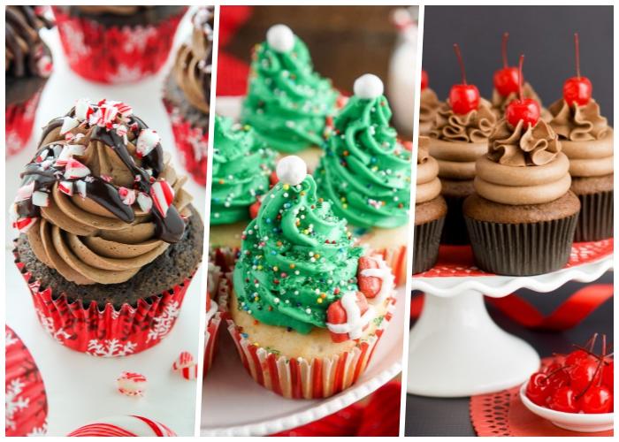 cucakes dekorieren, muffins verziert wie tannenbäumen, festliche nachtspeisen, kirschen