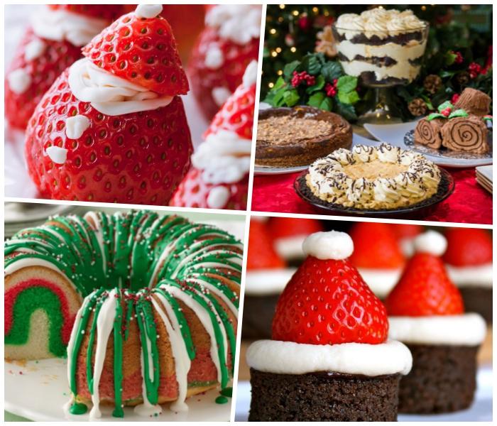 weihnachtsmänner aus erdbeeren und weißer sahne, festliche nachspeisen weihanchten, runder kuchen
