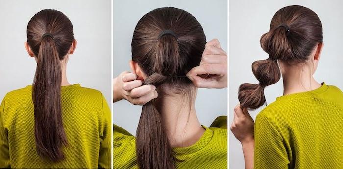 Bubble Ponytail selber machen, einfache und schnelle Frisur für den Alltag, Anleitung in drei Schritten
