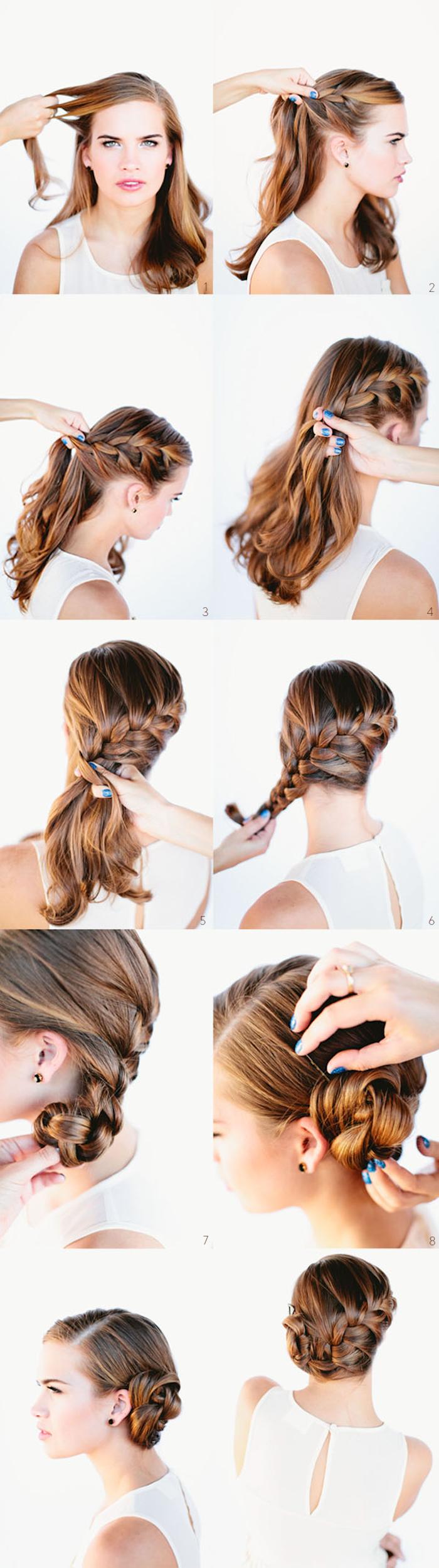 Seitlichen Dutt selber stylen, einfache Flechtfrisur zum Nachstylen, Brautfrisur für lange Haare