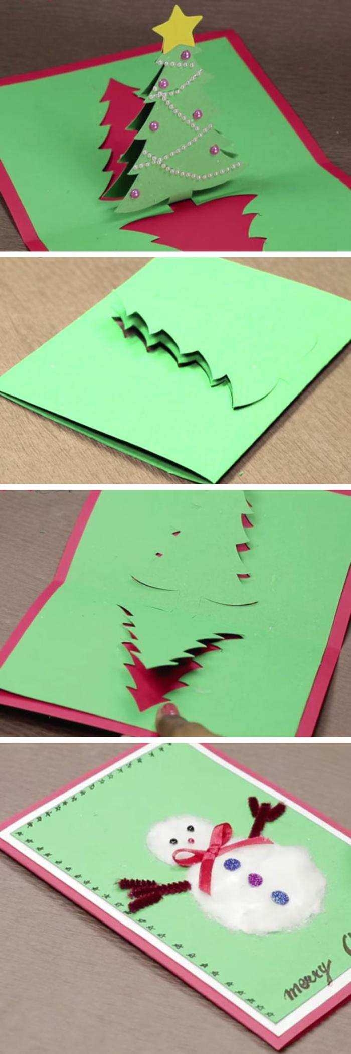 Weihnachtskarten gestalten, 3D Karten gestalten, eine rote Karte mit Tannenbaum