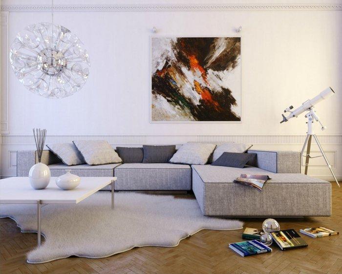 graues Sofa, weißer Teppich, ein weißer Tisch, Wohnzimmer gestalten Grau Weiß, abstraktes Bild