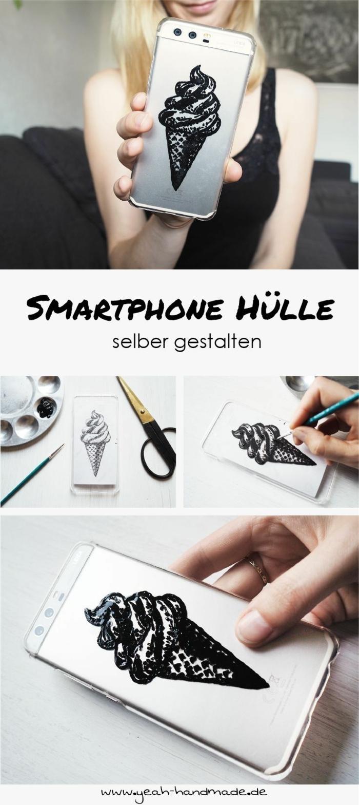 Handyhülle designen, DIY Anleitung mit Zeichnung von einem Eis in schwarz, Blonde Frau in schwarzem Top, schwarze Schere