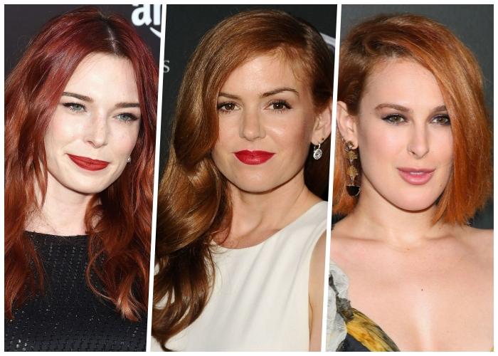 haarfarbe kupfer ideen, haare rot färben, karamellfarbene nunancen, trendige haarfrisuren