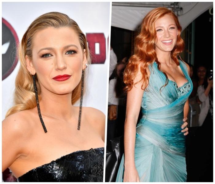 rote haare blond färben, haarfarben ausprobieren, blake lively, festliche frisuren ideen