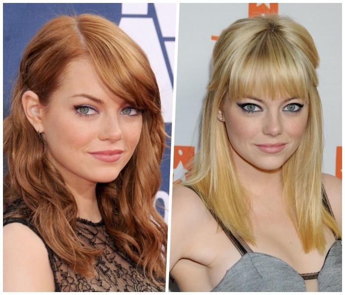 haarfarben ausprobieren, frisuren für rundes gesicht, emma stone, blonde haare
