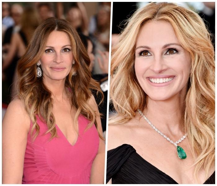 haarfarben ausprobieren, julia roberts, braune haare blond färben, balayage braun, frisuren mit locken
