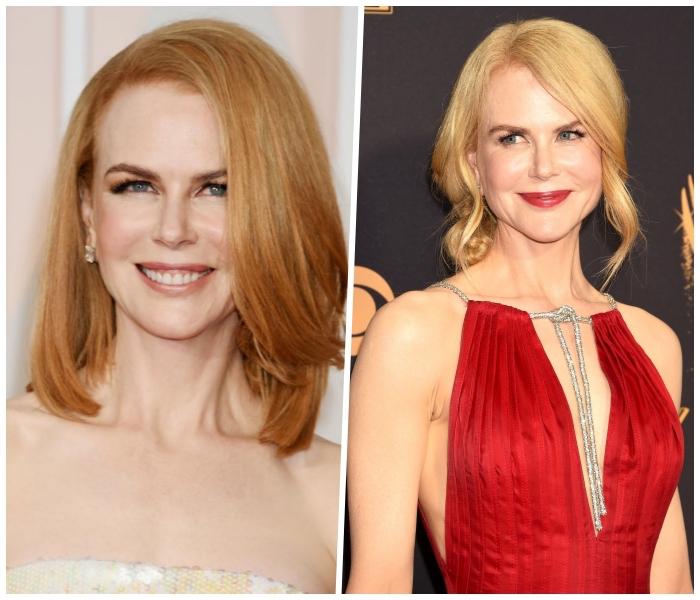 haarfarben ausprobieren, schulterllange karamellfarbene haare, rotes abendkleid
