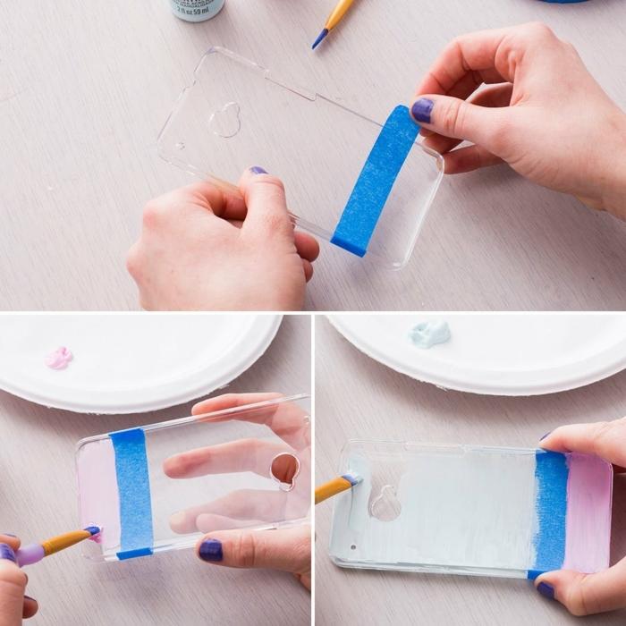 Aufkleben von Hülle mit Band, Bemalen mit pinke und hellblaue Farbe, Handyhülle personalisieren