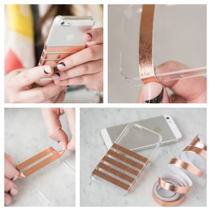 Kollage von DIY Anleitung, iphone 6s handyhülle, aufgeklebte goldene Streifen auf durchsichtige Hülle