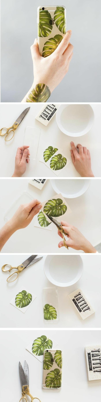 iphone 6s handyhülle, hülle selbst gestalten, DIY Anleitung, Tattoo als Vorlage von grüne Blume