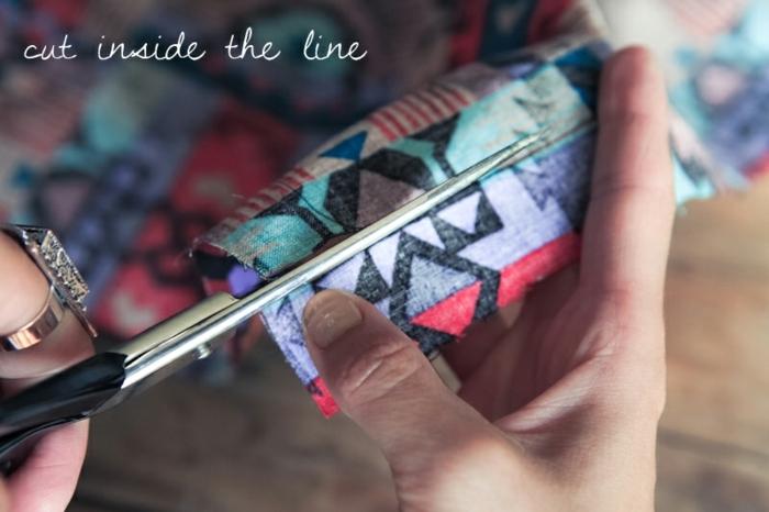 Stoff mit Motiven ausschneiden, nach den Konturen des Handys, Handyhülle selber machen