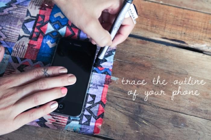 Handyhülle designen, folgen Sie die Linien vom Handy mit einem Filzstift um die Hülle zu gestalten