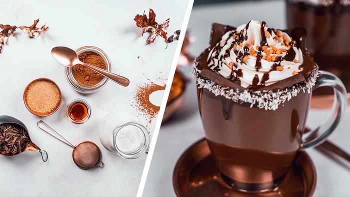 Heiße Schokolade mit Erdnusscreme und Erdnusskrokant, Nachtisch zu Weihnachten