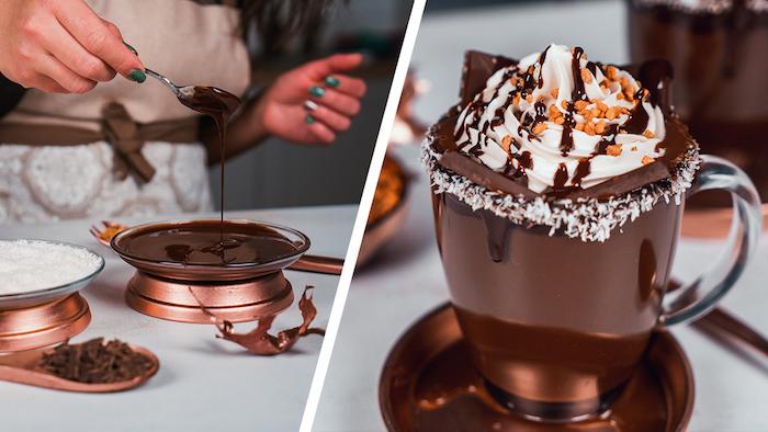 Heiße Schokolade mit Erdnusscreme, Schokoladenriegeln und Erdnusskrokant garnieren
