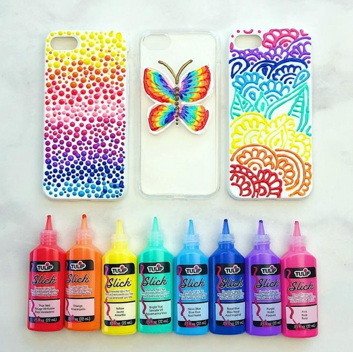 Handyhülle gestalten, Regenbogen, Schmetterling und einige Blumen, farbenfrohe Designs