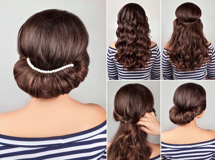 Dutt mit Haarband selber machen, braune wellige Haare, Anleitung in vier Schritten
