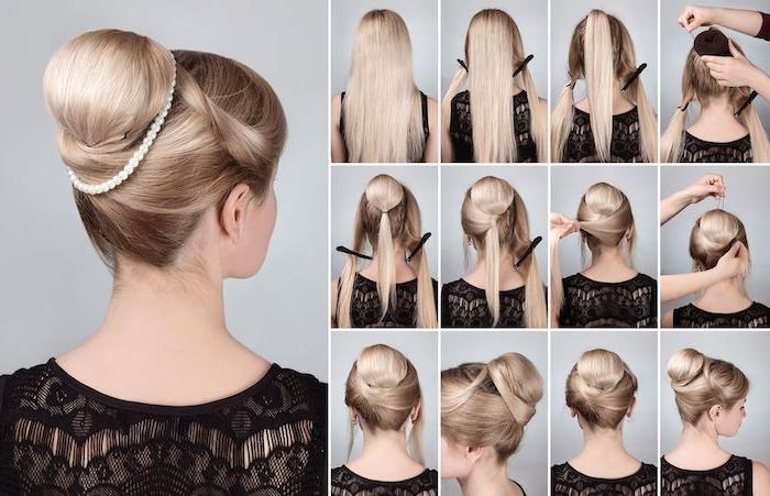 Elegante Hochsteckfrisur für besondere Anlässe, Dutt selber stylen in 12 Schritten, mit Perlen verzieren