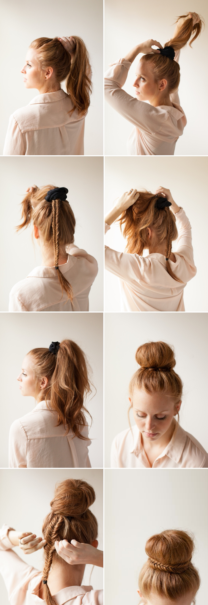 Dutt ohne Duttkissen selber stylen, Haare zum Pferdeschwanz binden und um das Haarband wickeln