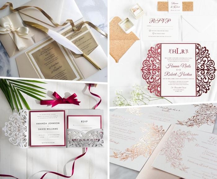 hochzeitseinladungen in weiß und rot, hochzeit planen, einladungskarten auswählen, große feder in weiß und gold