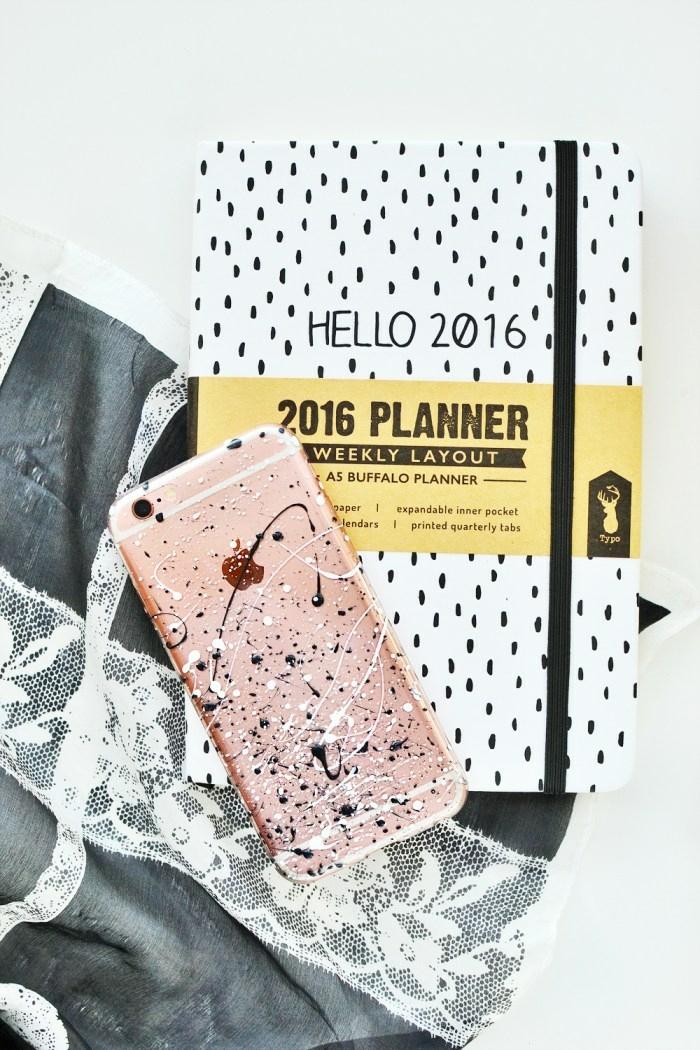 iphone handyhülle selbst designen, Bespritzt mit Nagellack Tagesplaner in weiß mit Pünktchen, Tasche mit Spitze,