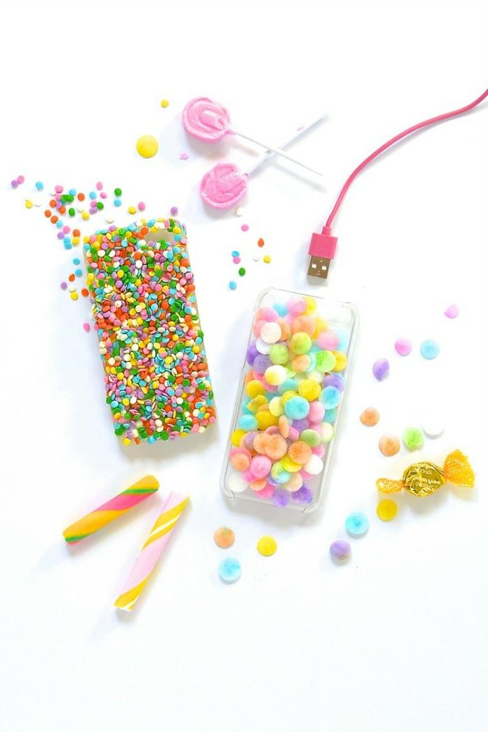 mit künstlichen Süßigkeiten die Handyhülle selber gestalten, farbenfroh Gestaltung von Handyhüllen