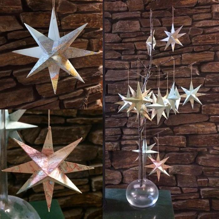Papiersterne falten, viele kleine 3 D Sterne aus einer Kartensammlung, bunte Sterne
