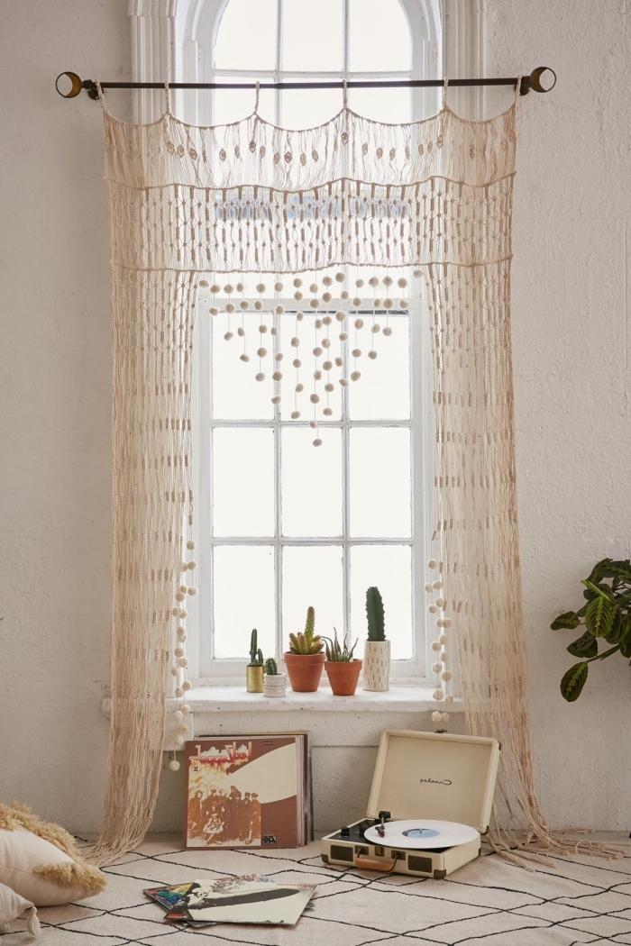 makramee vorhang idee, schöne dekorationen zu hause, selber dekorieren und gestalten