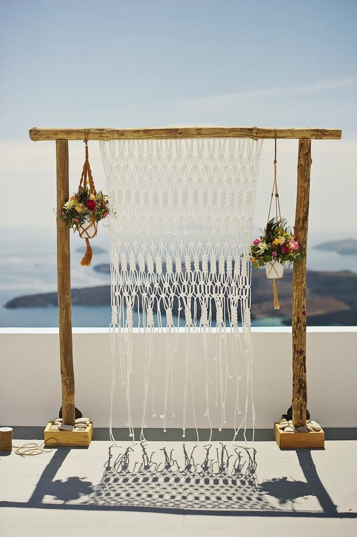 makramee knoten idee, bilderrahmen deko, meer sommerdeko für die terrasse