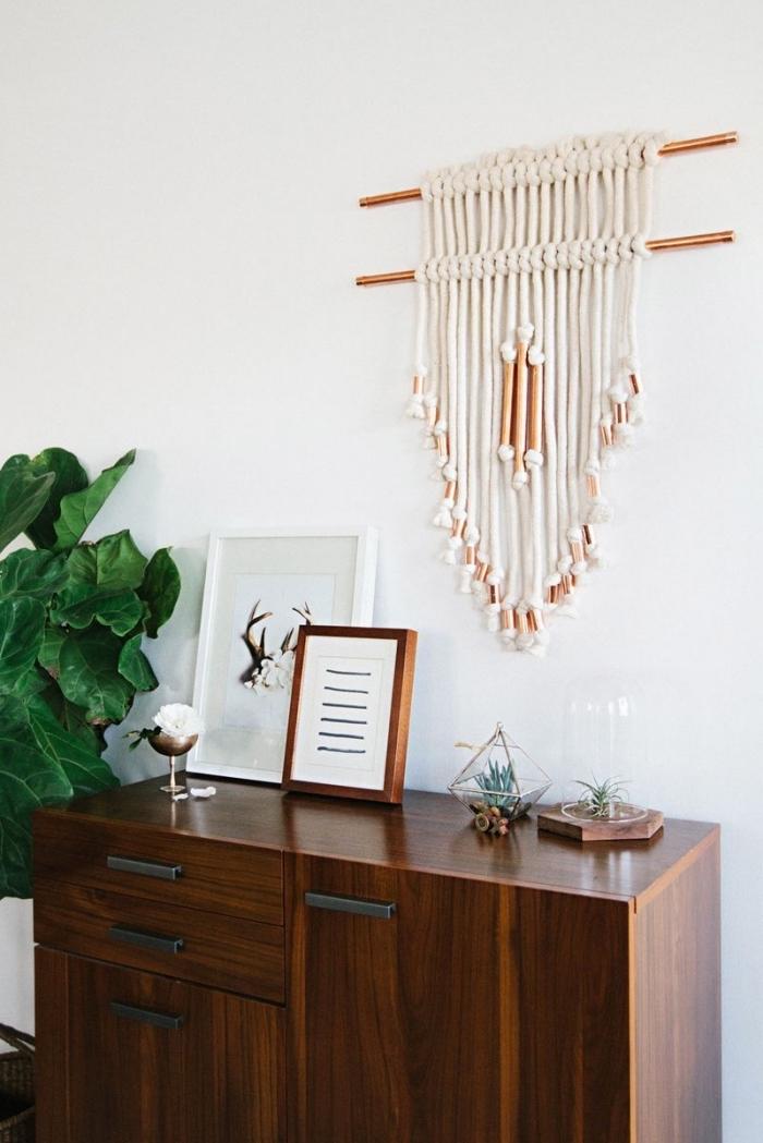 makramee knoten ideen zum interieur design in ethno stil, vintage schrank