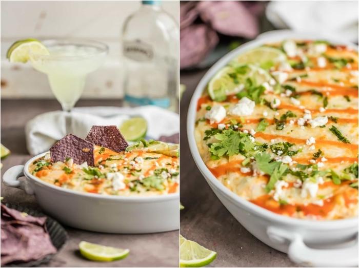 cocktail mit limetten, kochen für gäste, soße mit vier arten käse, schnelles partygericht