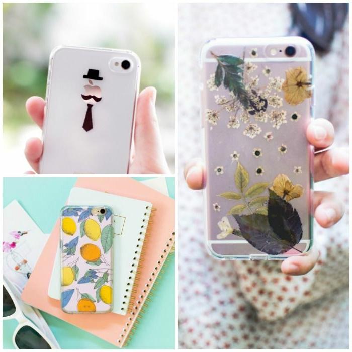 drei kreative Ideen, wie Sie Handyhüllen selber gestalten, mit Aufklebern und mit trockenen Blumen