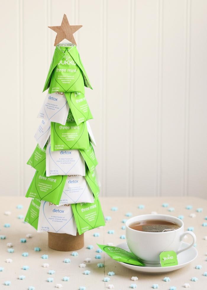 Weihnachtsbaum aus Teebeuteln, Tasse Tee, Weihnachtsgeschenk Idee zum Nachmachen
