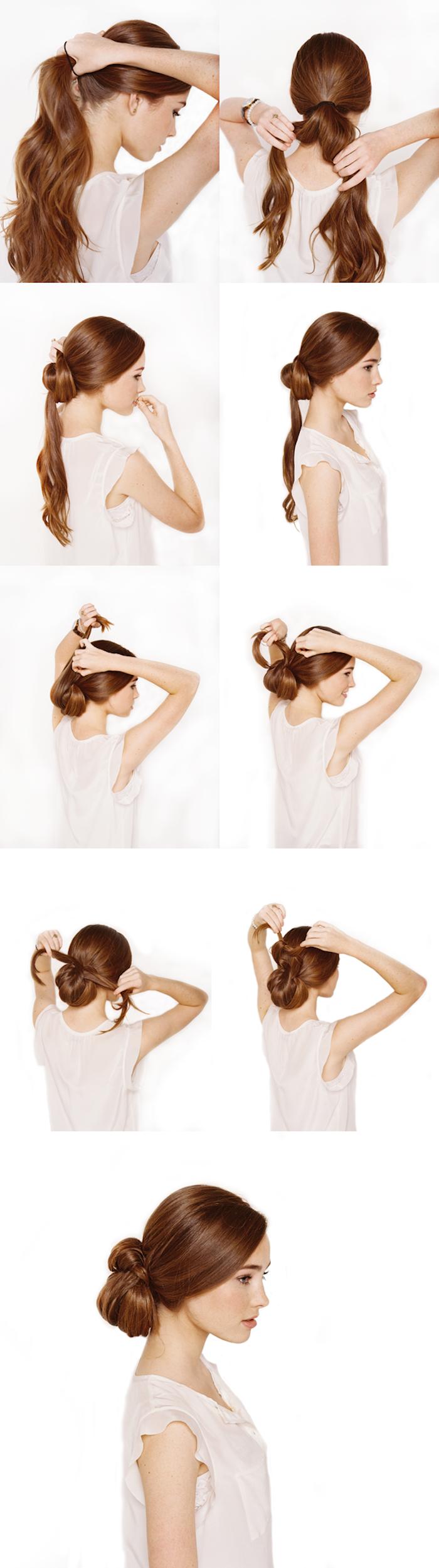 Niedrigen Dutt selber stylen, Schritt für Schritt Anleitung, Hochsteckfrisur für lange und mittellange Haare