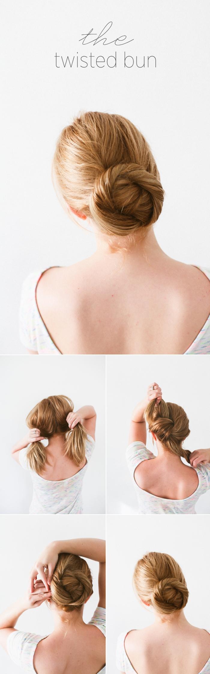 Niedrigen Dutt selber machen, Haare in zwei Partien teilen, zusammenbinden und Knoten formen