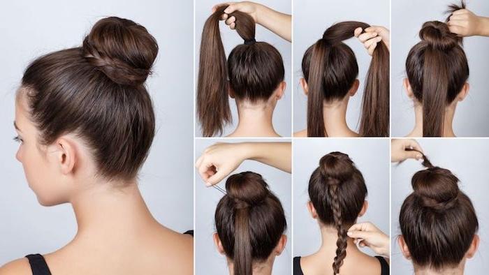 Dutt selber stylen, Hochsteckfrisur für lange Haare, DIY Anleitung in sechs Schritten, Dutt mit dünnem Zopf
