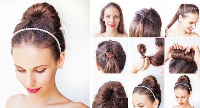 Elegante Hochsteckfrisur für besondere Anlässe, Dutt selber machen in neun Schritten, Frisuren für lange Haare