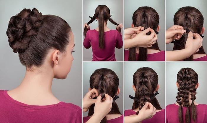 Hochsteckfrisur selber machen in sechs Schritten, Haare flechten und Dutt stylen