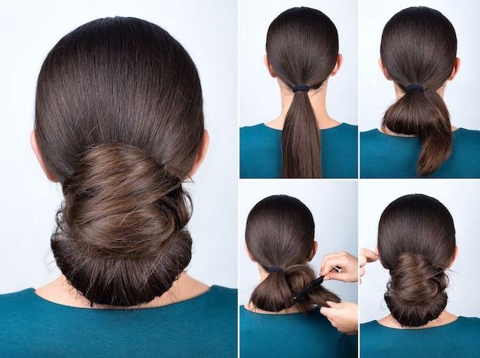 Anleitung für niedrigen Dutt in vier Schritten, elegante Hochsteckfrisur für besondere Anlässe, für lange und mittellange Haare