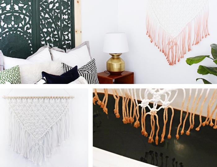 makramee deko an der wand, collage aus ein paar bildern die zeigen wie man damit dekorieren kann