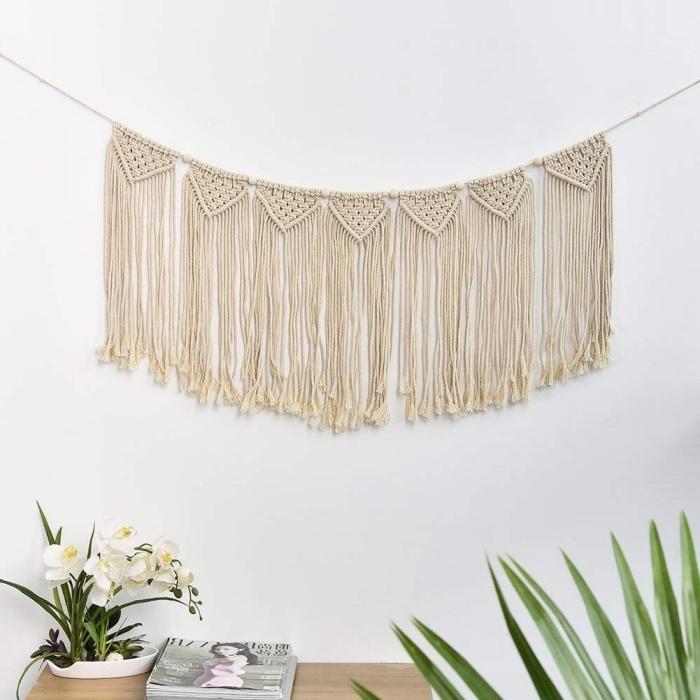 makramee schmuck idee für die wand, hängende schmuckideen, kreative deko