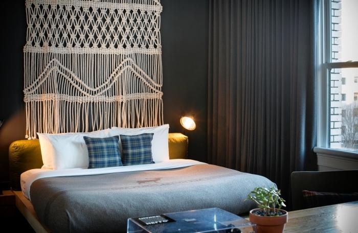 knoten anleitung wanddeko für die wand hinter dem bett schlafzimmer deko ideen