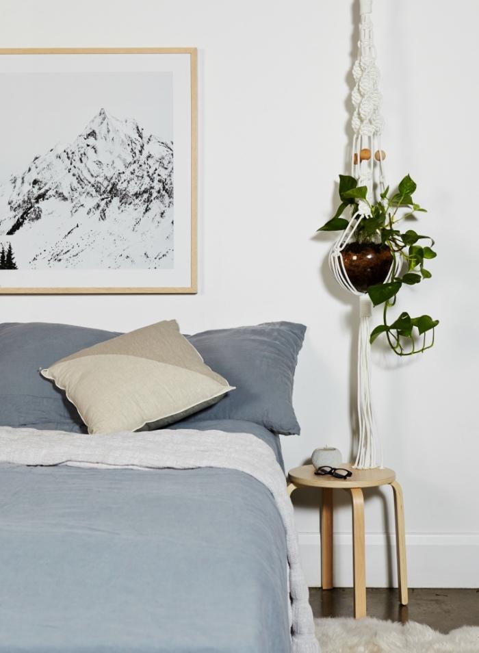 makramee dekorationen zu hause, schlafzimmerdeko und einrichtung, skandinavischem stil minimalistisch mit ehtno deko