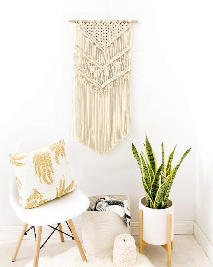 makramee garn, wanddekorationen, naturfarbe, natürliche dekorationen, pflanze grün